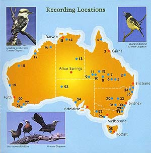 Map of recording locations - inside front cover